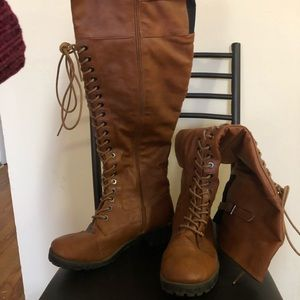 Over-the-knee, lace-up Boots